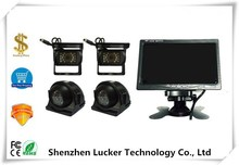 Vehicle CCTV System 7Inch Monitor 4 Split Quad LCD with Four IP67 Rear View Reversing Camera DC12-24V car bus truck
