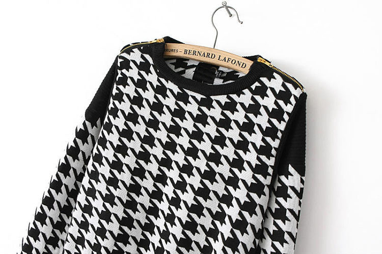 Plaid Pattern Knitted Sweater Pullovers Brand Vintage Houndstooth