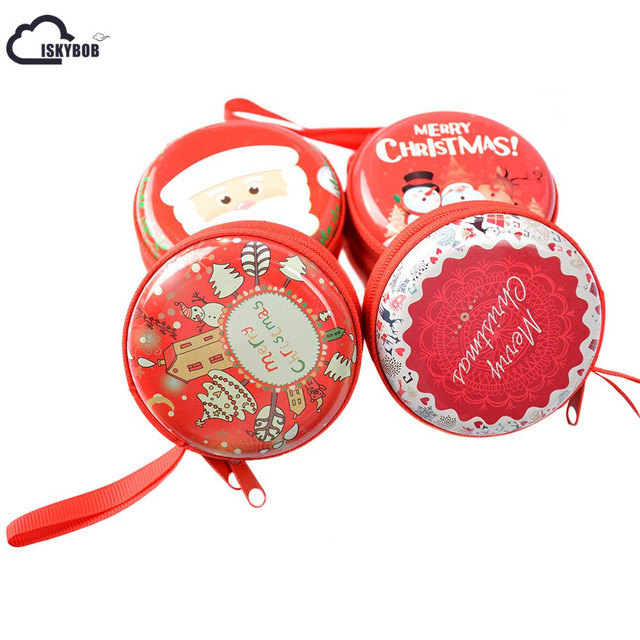 ISKYBOB 1 pc Christmas Mini Small Earphone Bag Pouch Wallet Coin Key Purse Zip Round Coin Purses & Holders