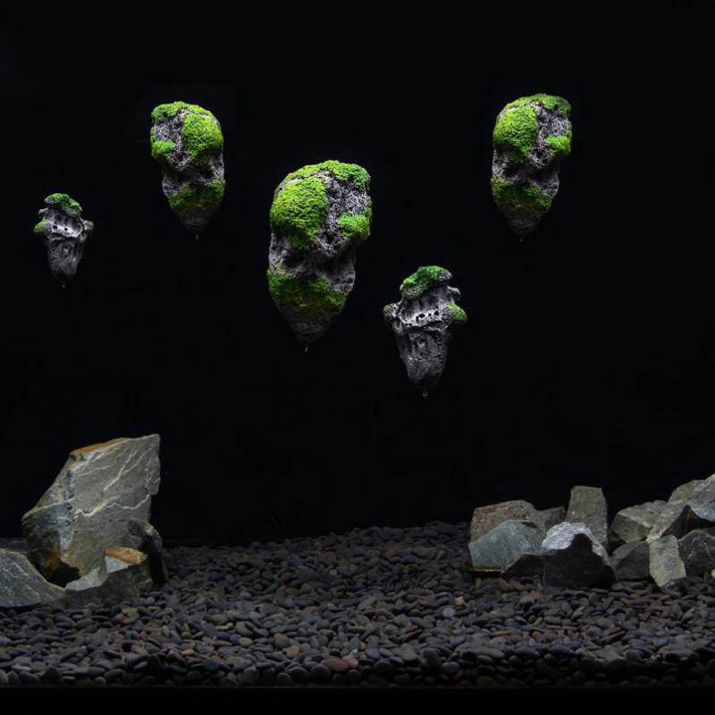 Venta caliente de la resina decoración del acuario piedra volante piedra pómez ornamento del acuario musgo roca flotante para la decoración del acuario 2 tamaños