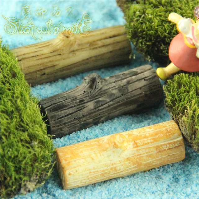 new resin micro landscape single plank bridge fairy garden miniatures brown yellow wood diy miniature - Fairy Garden Miniatures