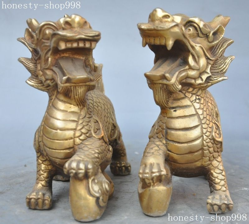 Christmas chinese fengshui brass yuanbao Kirin Unicorn Kylin Brave - Home Decor