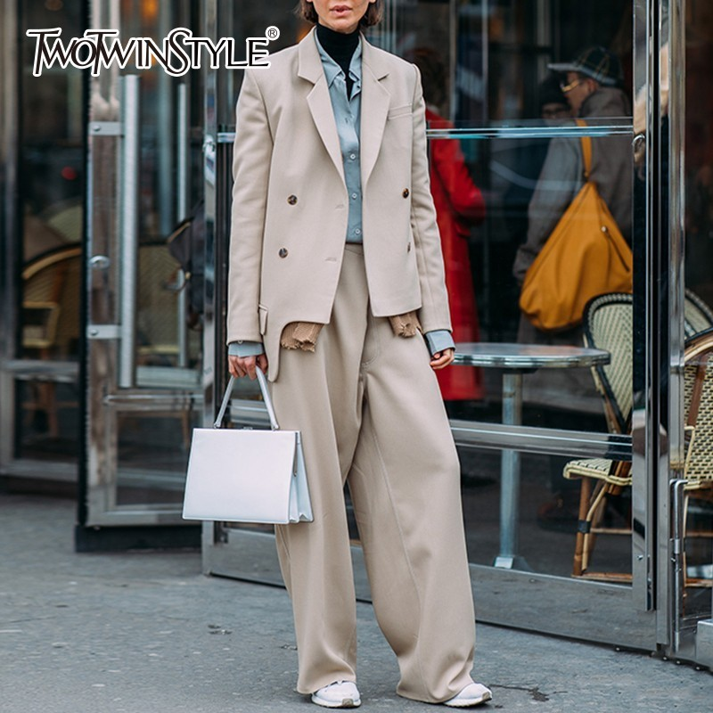 TWOTWINSTYLE Casual Women s Suits Long Sleeve Asymmetry Blazer Coat High Waist Wide Leg Pants Two