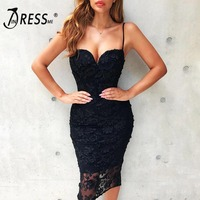 INDRESSME Sexy Strapless Spaghetti Strap Lace Women Bandage Dress Elegant Solid Knee Floral Spring Women Party