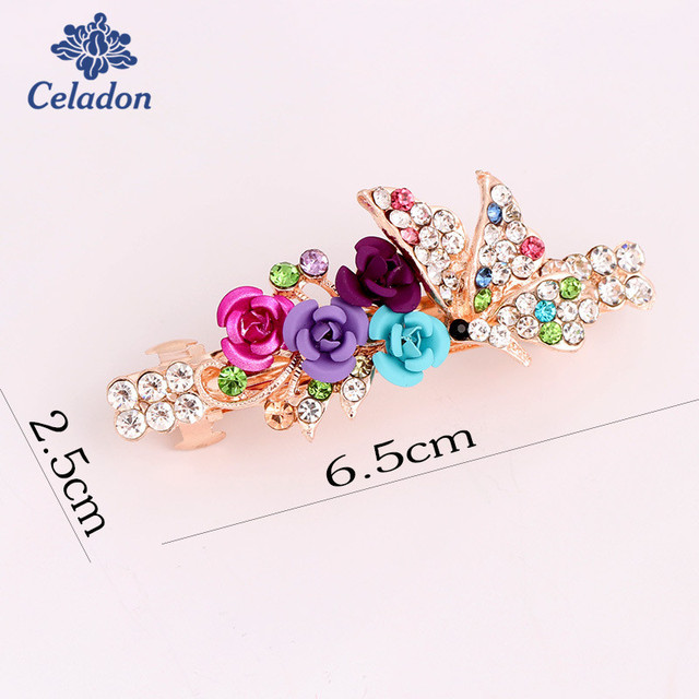 Fashion Women HairClip Korean Exquisite Flower Crystal Rhinestone Hairpins  Barrette For Party Wedding Hairpin hair Accessories 3bb74ea03ab2