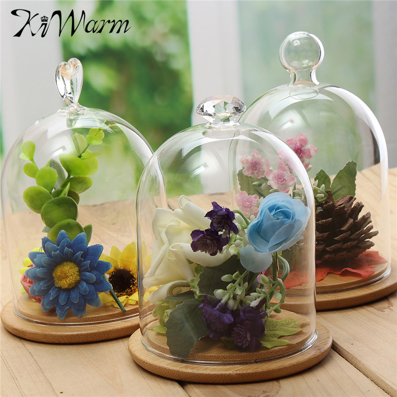 Kiwarm Modern Gl Display Cloche Bell Jar Vase Terrarium Dome Flower Immortal Preservation With Wooden Base
