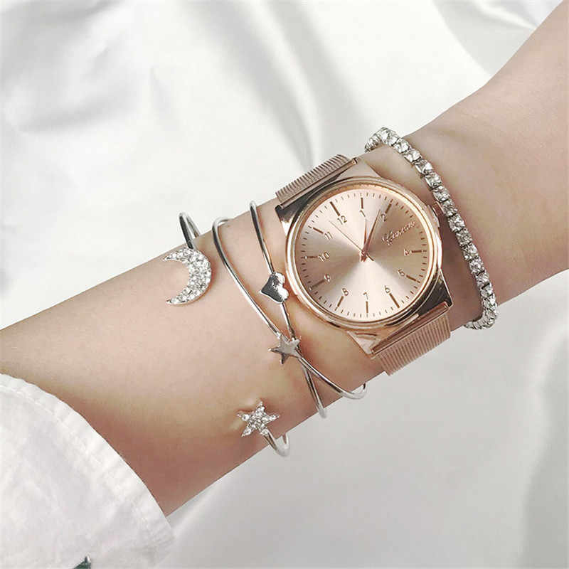 Hot Sale Punk Retro Simple Moon Star Heart Crystal Bracelet Charm Cuff Bracelet Bangle Party Jewelry Accessories For Women Girls