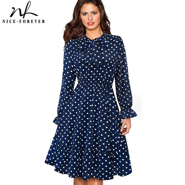 Nice-forever Elegant Vintage Polka Dots Pinup Bow vestidos Business Party Female  Flare A- b25c6bb80d28