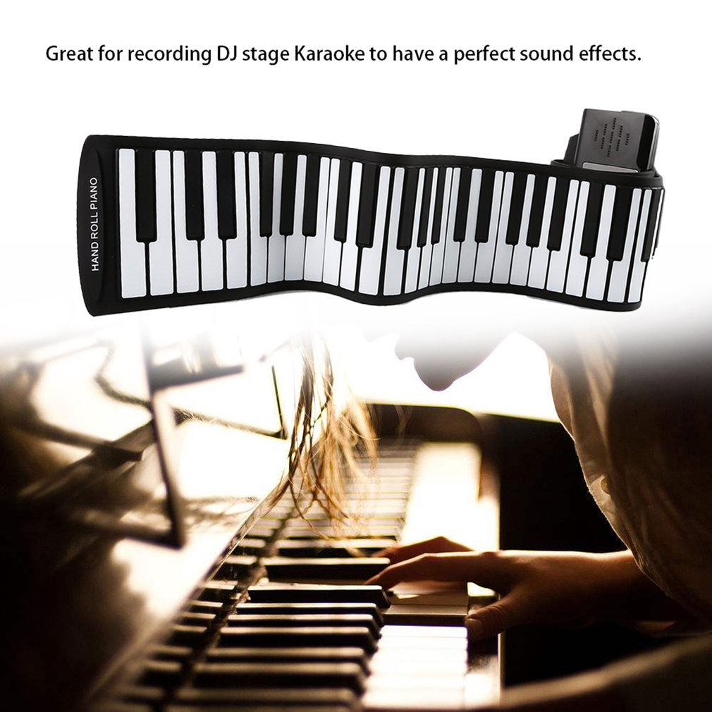 88 Keys Folding Silicone Hand Roll Electronic Organ Digital Mic Line Audio Mixing Mixer Console With