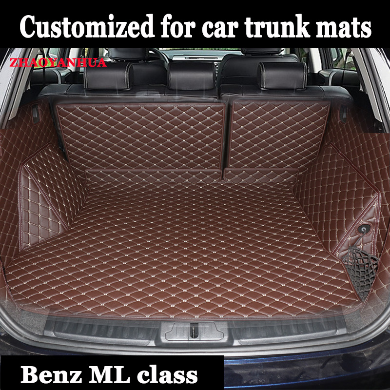 car Trunk mats for Mercedes Benz M <font><b>ML</b></font> GLE class W164 <font><b>W166</b></font> 250 300 320 <font><b>350</b></font> 400 450 500 550 rugs car styling carpet image