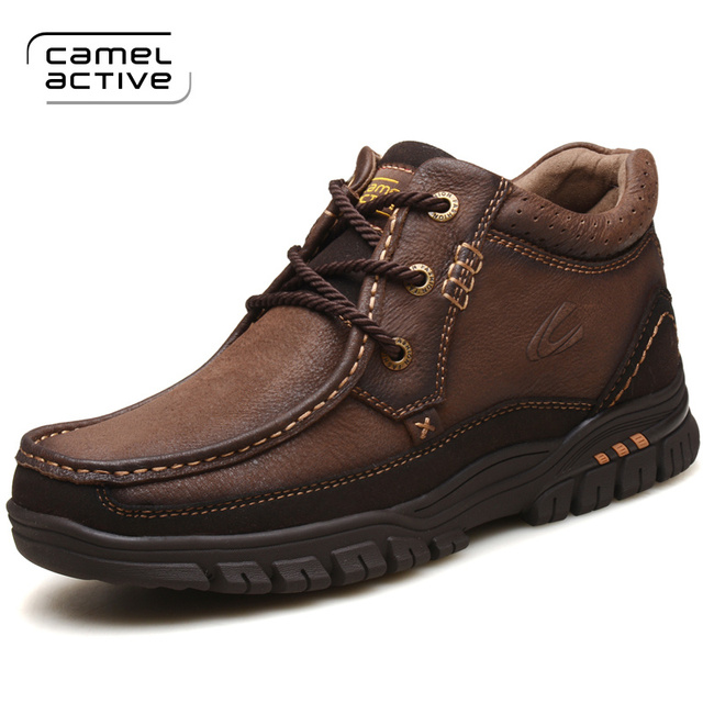 Camel Active New Hiking Shoes Men Cow Leather High Top Trekking Boots Sport Climbing Mountain Shoes Outdoor Walking Sneakers