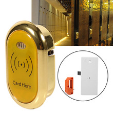 Infrared card safety sensor cabinet lock for electronic induction lock cabinet drawer lock for sauna shower room golden color rfid digital lock for sauna spa swimming pool gym electronic cabinet lock lockers one wristband