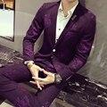 2017 Trajes de Flores Púrpura Para Hombre Blazers Mens Club Trajes Floral Ternos Masculino Azul Slim Fit Smoking Traje Mariage Homme