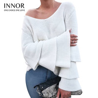 innor Pearl Beaded Layered Ruffle Sleeve Loose Jumper Pink Crew Neck Long Sleeve Cute Women Sweaters and Pullovers