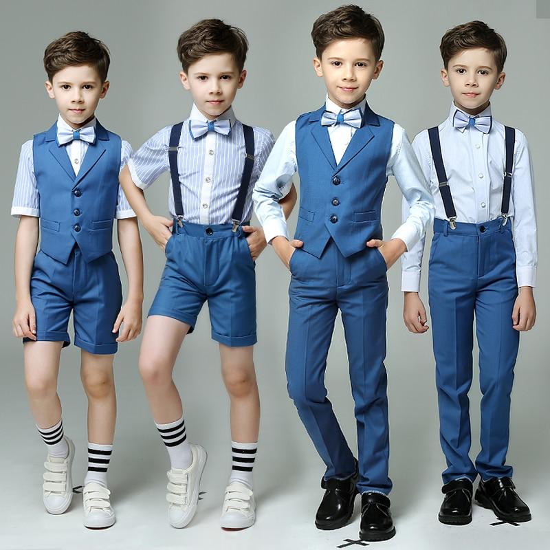 Toddler Boys Blue 4pcs/set(Strap/Vest+Pants+Shirts+Bow tie) for Wedding Groom/Show/Performance/Birthday Wearing Blazer Suit Sets