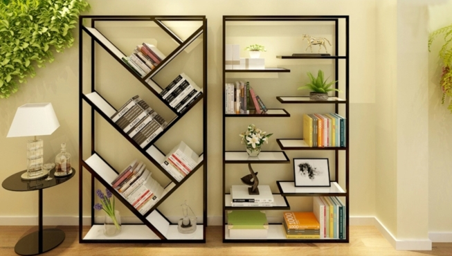 Simple modern wrought iron wood clapboard shelf storage - Simple showcase designs for living room ...