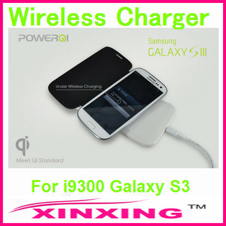 Newest Qi Wireless Charger Charging Pad + Charge Adapter + Flip Leather Receiver Case for Samsung i9300 Galaxy S3