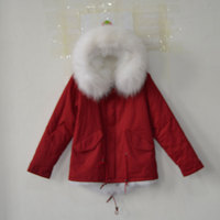 New Arrival RED Outside Cotton Shell Fabric White Fox Fur Lining Jacket With Big Fox Collar