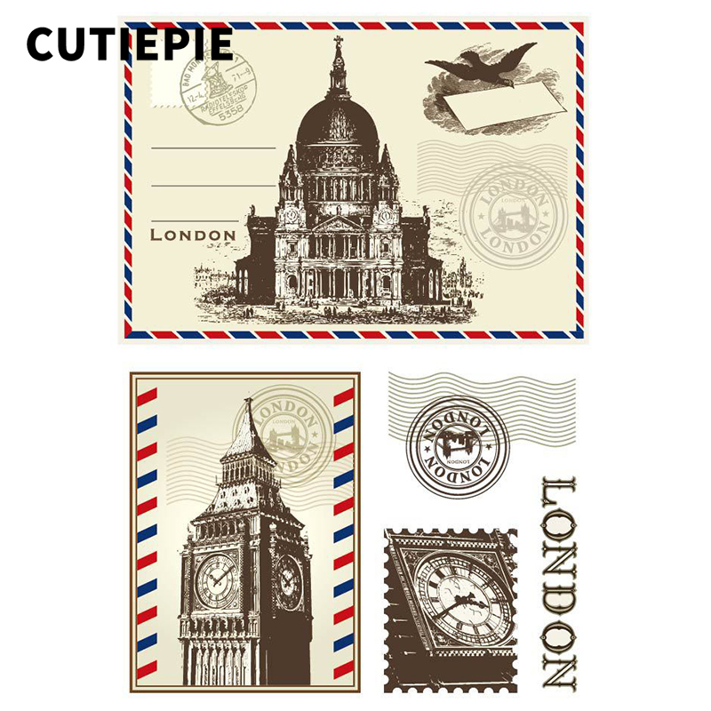London Postcard Transparent Clear Rubber Stamps Silicone Seals for Scrapbooking Photo Album Embossing Cards DIY Paper Decoration
