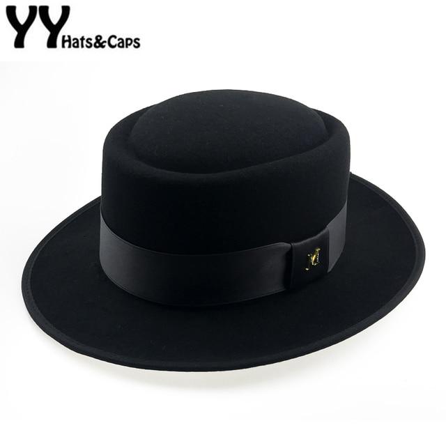 60cm Fedora Men Autumn Felt Pork Pie Crushable Hat BREAKING BAD Hat Walter Winter Retro Fedora hat Classic Church Trilby YY18110