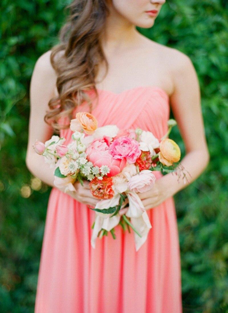 Baratos Gasa vestidos de novia largo vestidos de honor de la novia ...