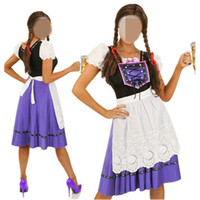 Free Shipping Elegant Maid Purple Costumes Womens Oktoberfest Costume Sexy Halloween Costumes Dress