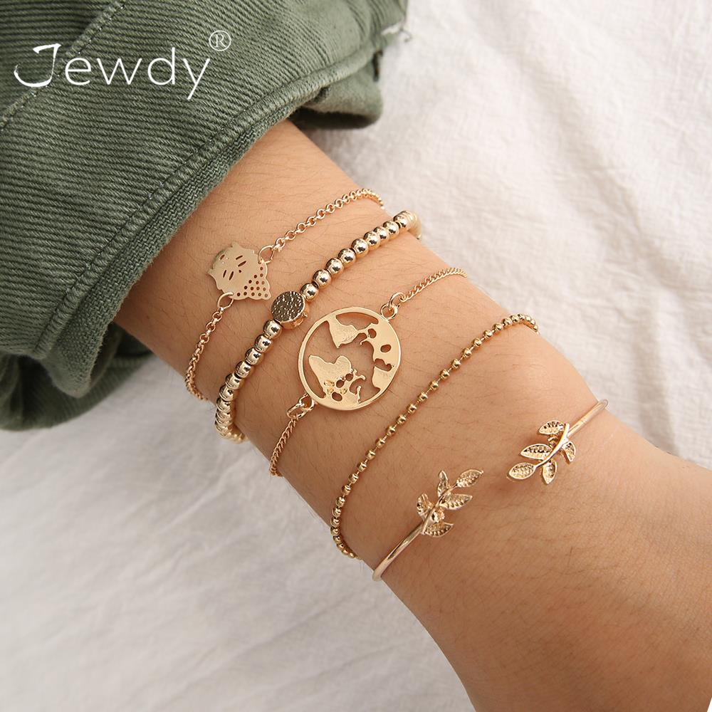 5 Pcs/Set Bohemian Carving Map Airplane Chain Pendant Gold Adjustable Opening Bracelet Female Personality Fashion Jewelry Gift image