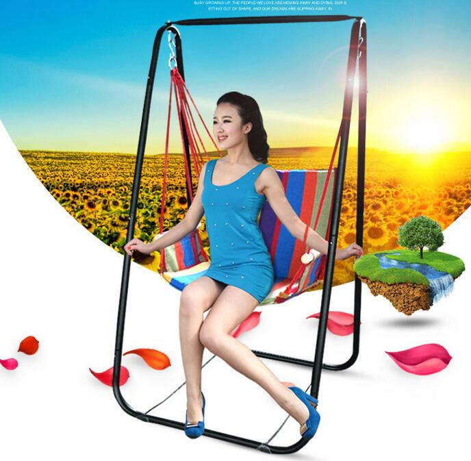 Hot selling portable outdoor adult breathable comfortable hammock swing indoor children hammock chair with metal foothold  цена и фото