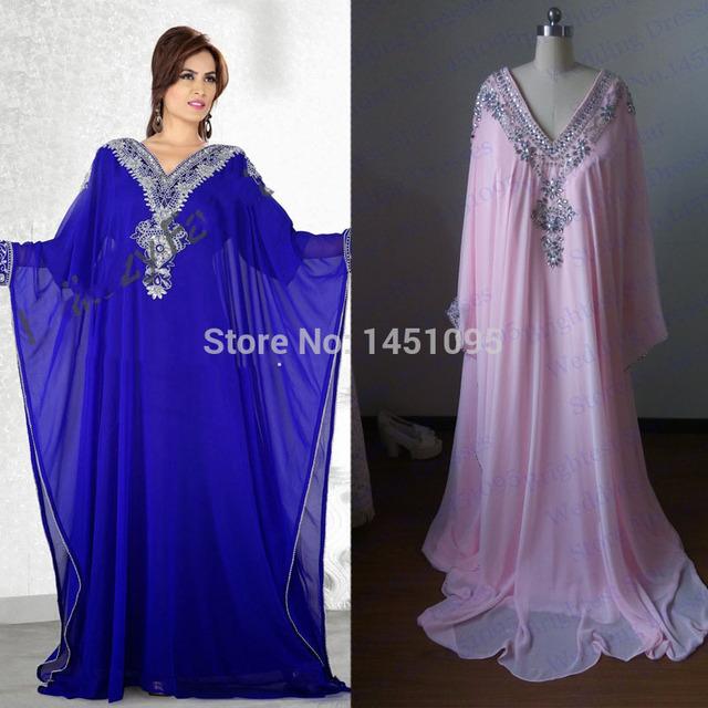 Imagem Real azul royal rosa chiffon maxi muçulmano manga longa vestido de noite v pescoço cristais frisados dubai marroquino kaftan vestido 2016