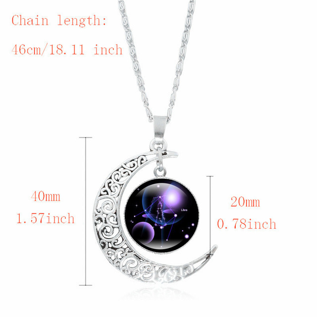 XUSHUI XJ 12 Constellation Glass Cabochon Pendant Necklace Silver Crescent Moon Jewelry Chain Necklace Women girl Family gifts 1