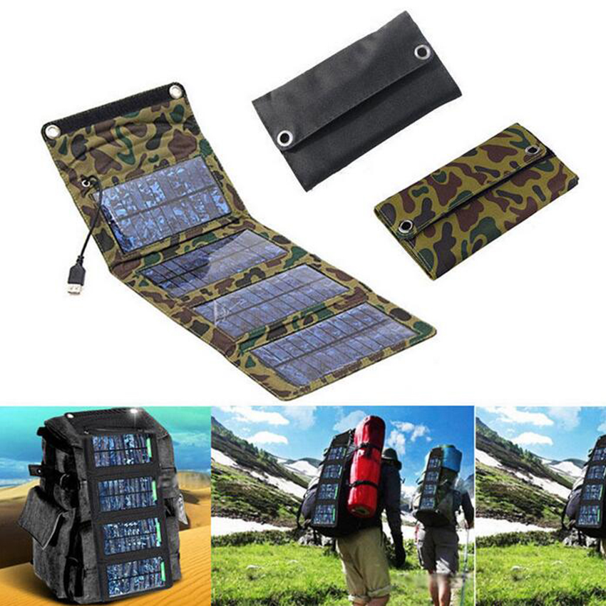 7W Portable Solar Charger Solar Panel Outdoor Travel Emergency Outdoor Foldable Charger Power For Cellphone Mobile Tablet Kits