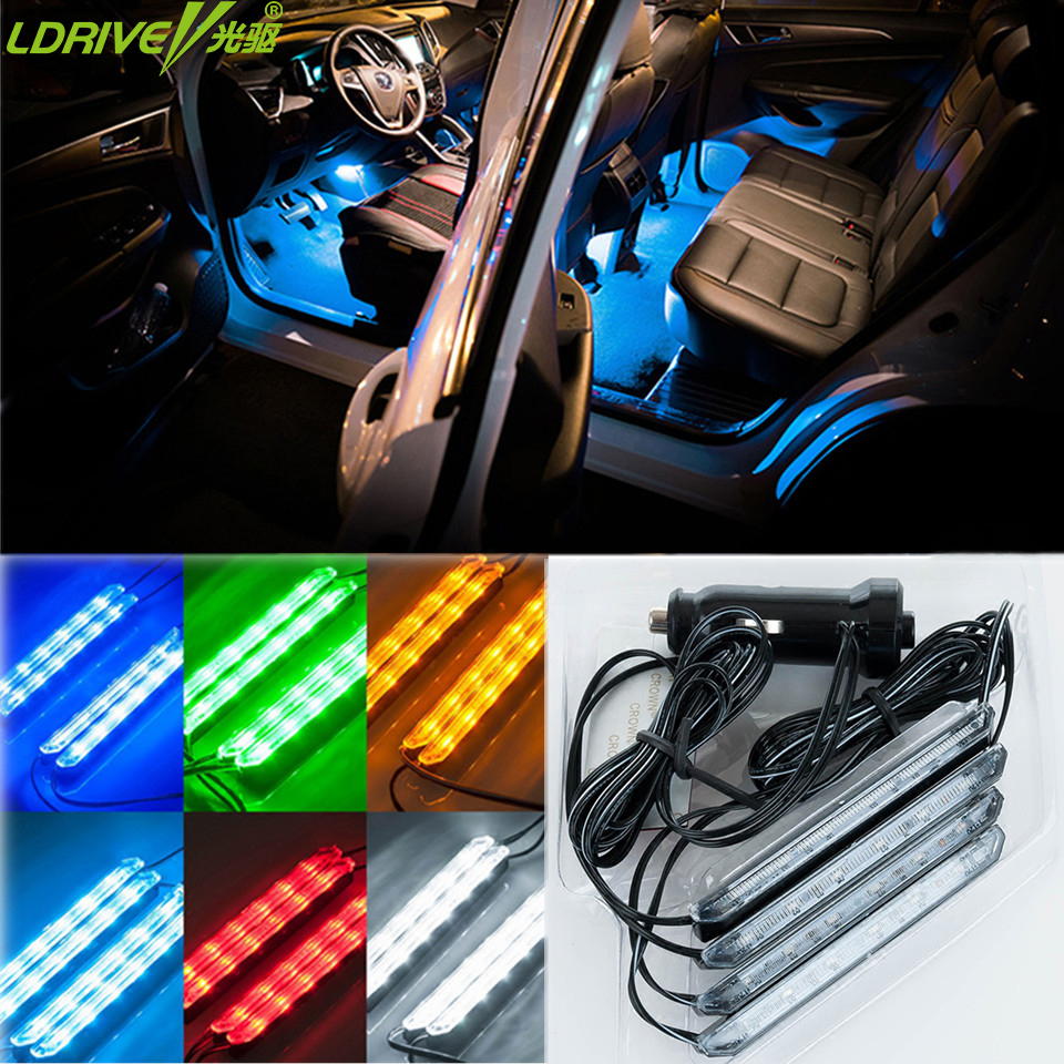 4pcs lot car styling led strip light car foot lights night safety decor interior lights blue. Black Bedroom Furniture Sets. Home Design Ideas