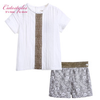 Cutestyles Summer  Boys Clothing Set White Cotton Shirt With Brown Lace Grey Flower Short Boys Bontique Clothes  B-DMCS905-792
