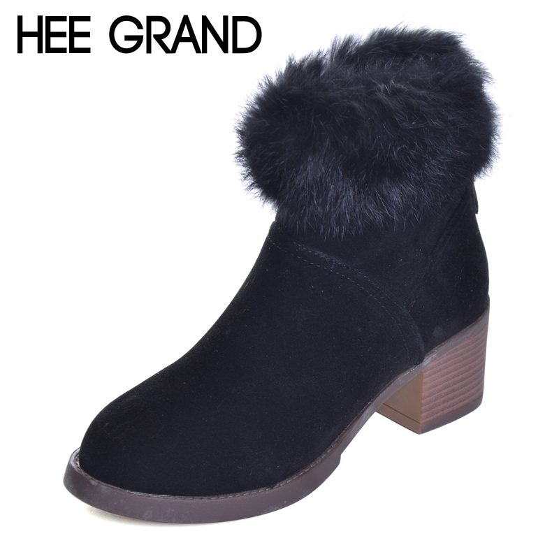 HEE GRAND Winter HOT Snow Boots Fashion Female Ankle Boots with Full Faux Fur Women Warm 2017 Thick Heel Winter Boots XWX6310