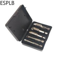 ESPLB-Kit d'extraction de vis endommagées, 5 pièces/4 pièces, 1/4 pouces, extracteur de vis hexagonales, HSS 4241