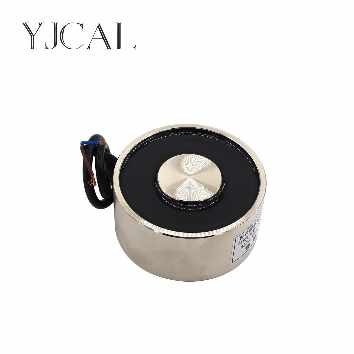 YJ- 80/38 DC 12V 24V Circular Micro Holding Electric Magnet Lifting 100KG Solenoid Sucker Electromagnet