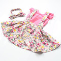 Ready to ship Girls skirt  pink top 3pcs set ,Summer Suspender skirt in Vintage pink Floral ,floral Children set