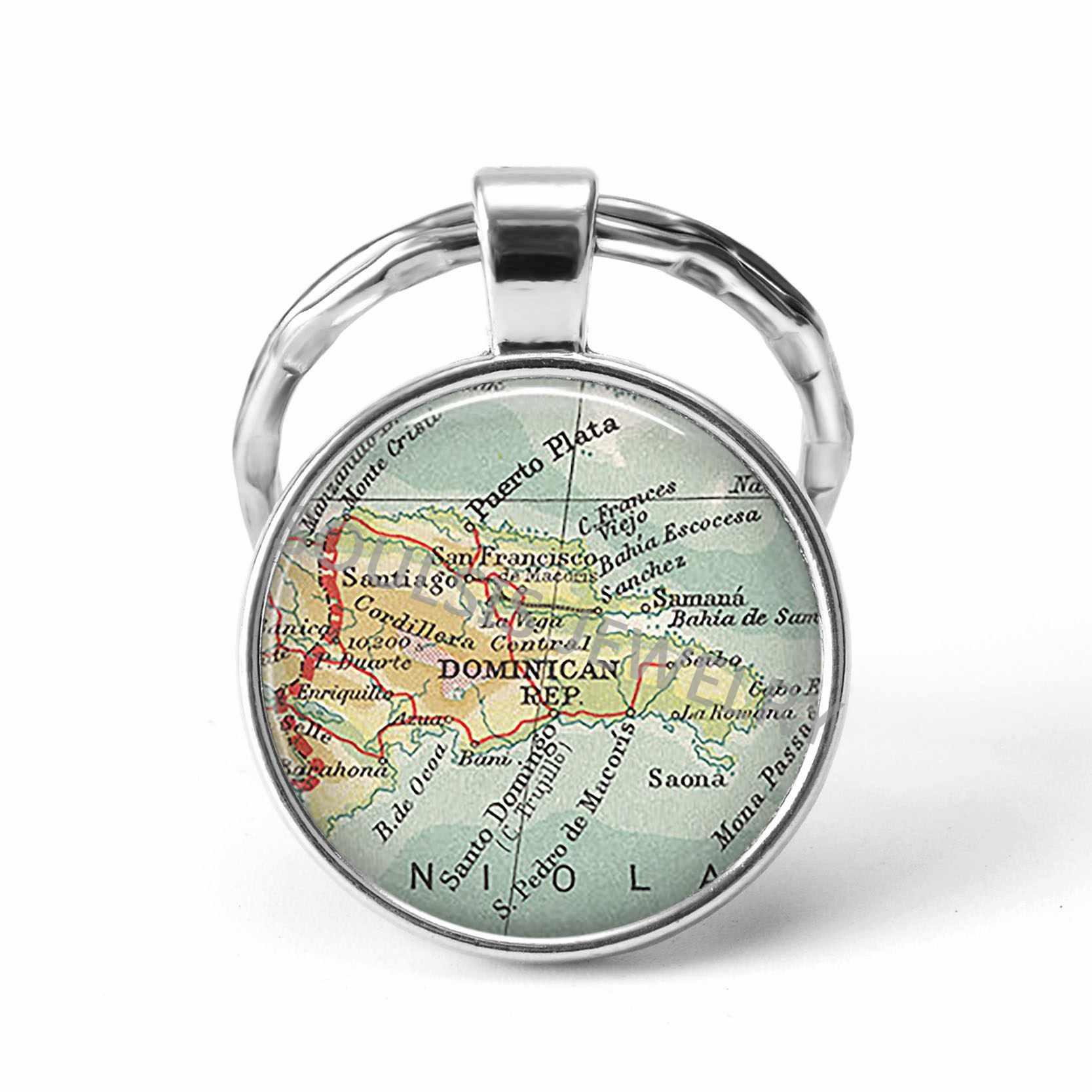 2019 أحدث ميدالية مفاتيح معدنية اليدوية خمر اسبانيا العالم خريطة الأرض الجغرافيا مفتاح سلسلة الزجاج قبة سلاسل المفاتيح للرجال النساء هدية