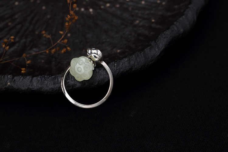 S925 เงินสเตอร์ลิงระดับไฮเอนด์ Lotus เครื่องประดับหยกธรรมชาติแหวนแฟชั่นผู้หญิงแหวนเครื่องประดับสำหรับสุภาพสตรี