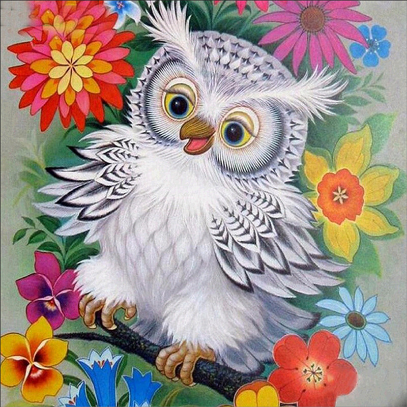 Diamond painted square diamond owl embroidered cross needle resin wall decorative gift