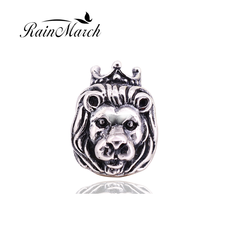 Original 925 sterling silver lion charms beads diy jewelry Fits for Pandora Bracelets free shipping бижутерия pandora 925 790122