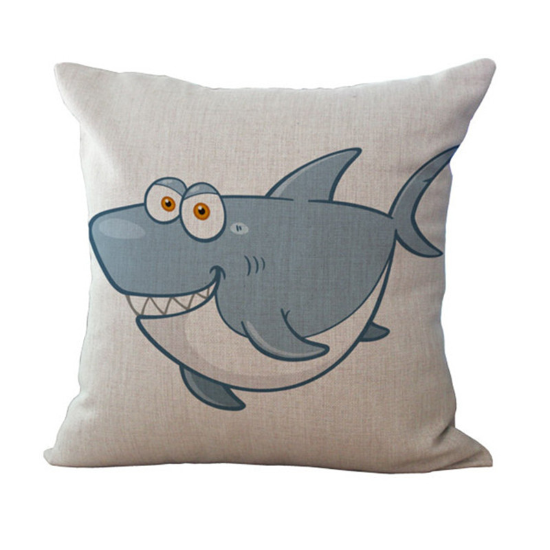 Fashion High Quality Cotton Linen Cartoon Koala Shark Dolphin Car Decorative Throw Pillow Case Cushion Cover Sofa Home Decor
