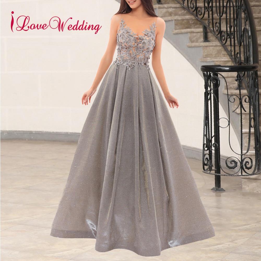 ILoveWedding 2019 New Fashion O Neck Muslim Evening Gown Custom Made Long Sleeves Green Sequin Evening Dresses Long