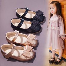 Hot 2019 Princess Flat Bowtie Shoes Children Girls Hook & Loop Single Shoes Patent Soft Leather Flat with Girls Shoes Sandals girls leather shoes 2019 spring autumn children flat with princess shoes pu baby girls hook loop antiskid soft bottom shoes 242