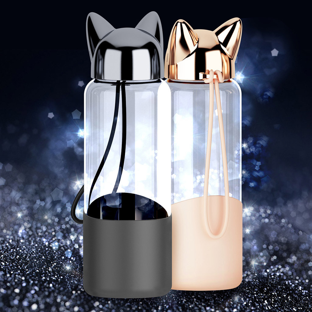 NEW patchwork Cute Fox Glass Water Transparent Bottle 18