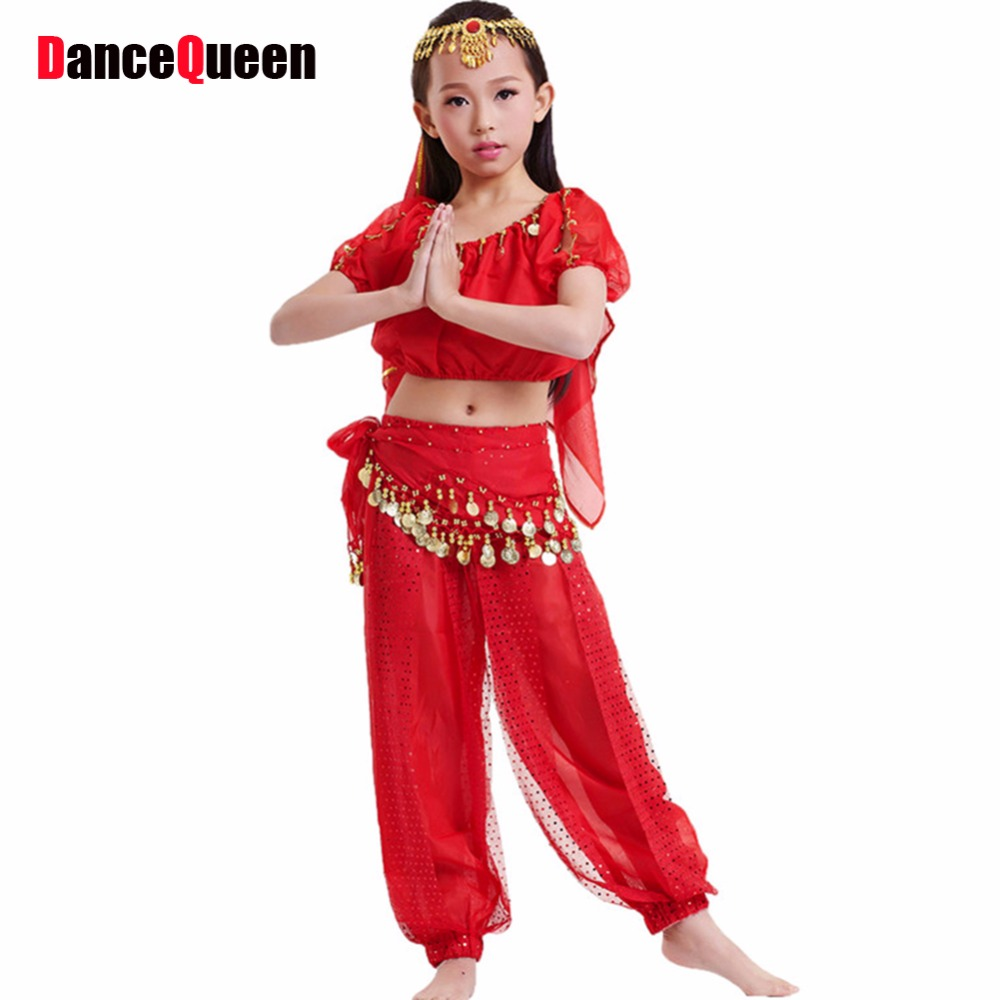 Hole Set Children Belly Dance Costume 6-Piece(Top+Trousers+Waist Chain+Veil+Bracelets+Headwear) Kids Bellydance Indian Dress