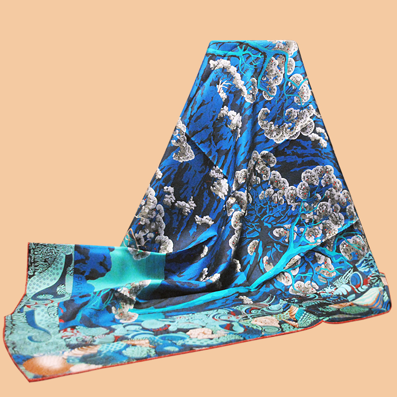Inkjet-Scarf Silk Men's 90 Huajun Color 2-Store Square Twill Foreign-Trade Sieste Au