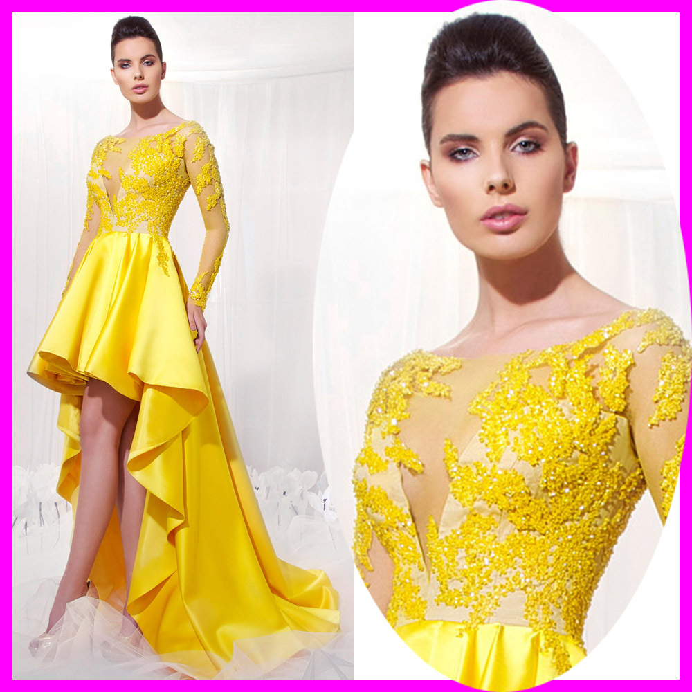 Couture Yellow High Low Lace   Prom     Dresses   2015 Evening   Dress   Sexy Party   Dresses   Scoop See Through Long Sleeve Beaded ES-7M