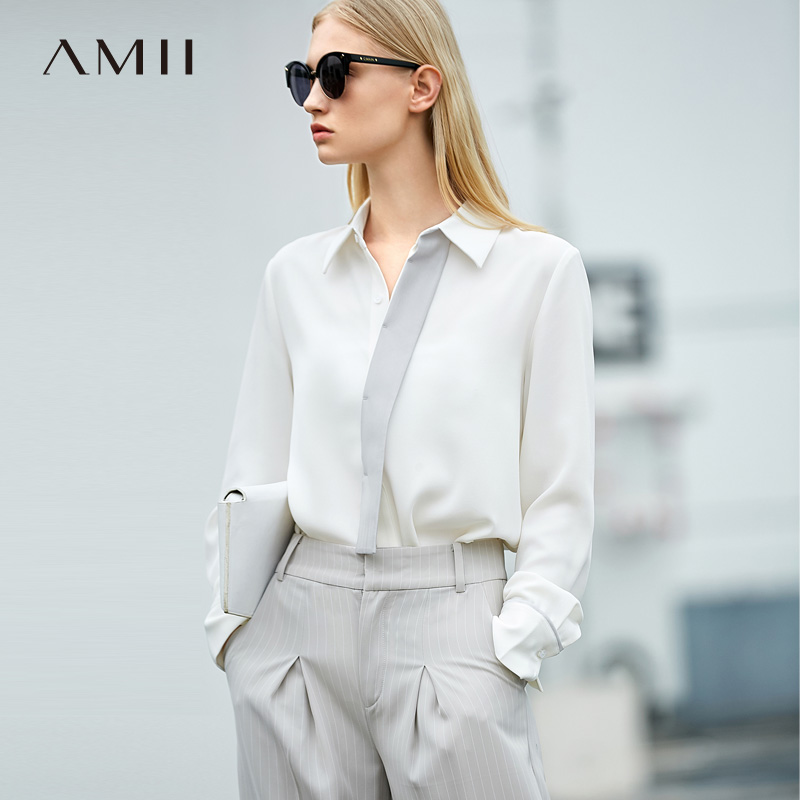 Amii Minimalist Women 2019   Blouse   Chiffon OL Contrast Color Turn-down Collar Female   Blouses     Shirts