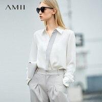 Amii Minimalist Women 2019 Blouse Chiffon OL Contrast Color Turn down Collar Female Blouses Shirts